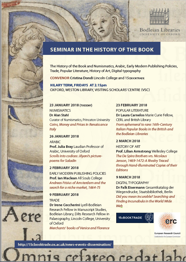 Seminar in the History of the Book Programme, Hilary Term 2018